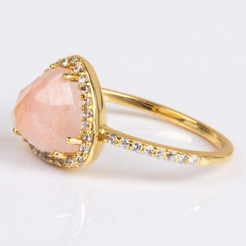 Rose Quartz Trielle Ring - rings - Leah Alexandra local eclectic