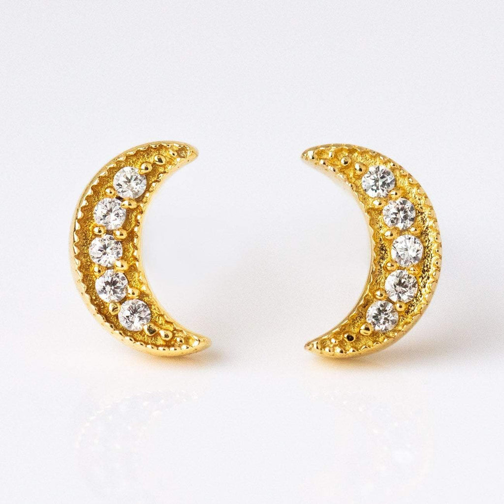 Luna Half Moon Stud Earrings