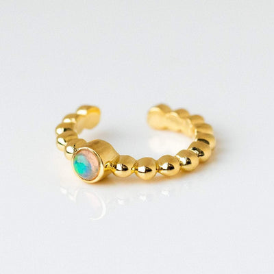 opal beaded ear cuff unique yellow gold jewelry