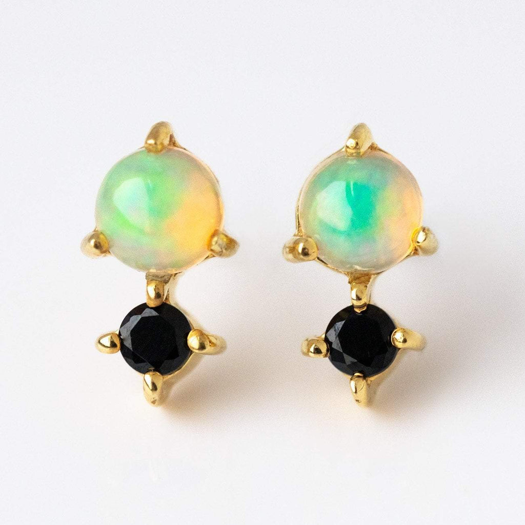 Opal & Black Garnet Earrings