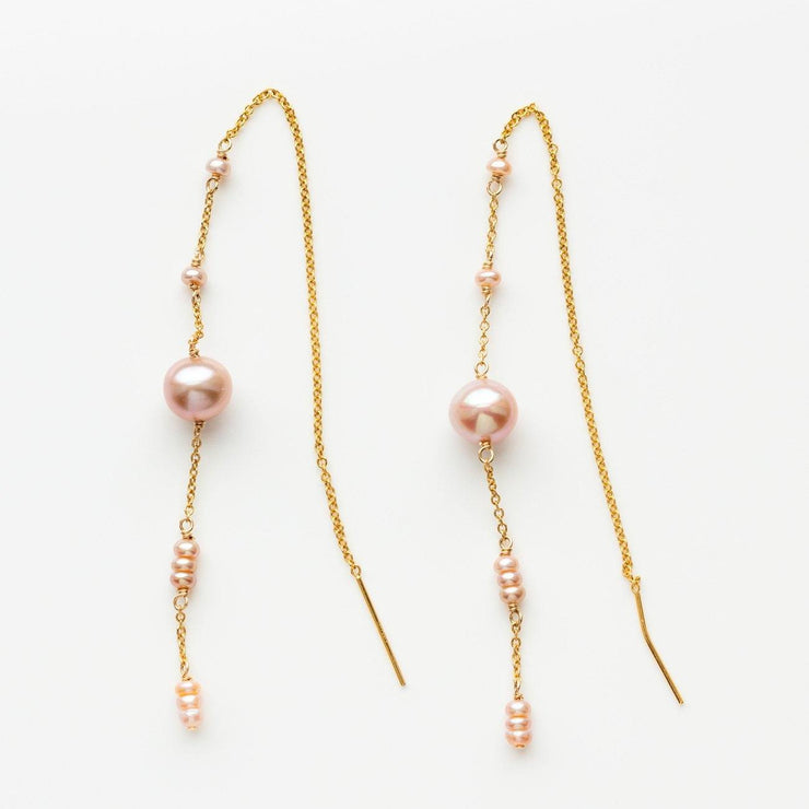 pierce threaders earrings with pink pearl