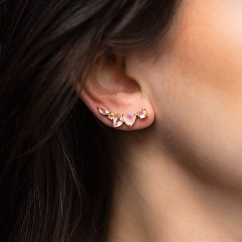 Dusty Rose Pink Wing Ear Climbers