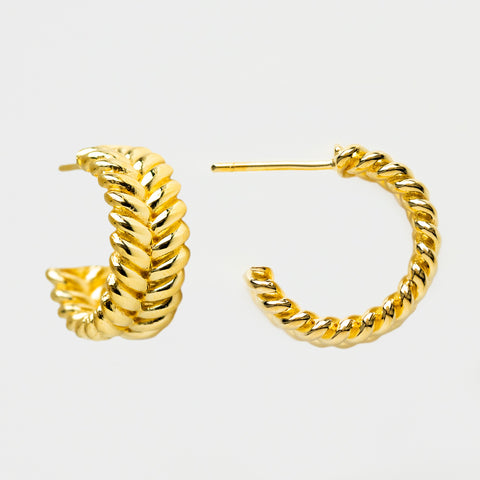 braided hoops yellow gold modern statement jewelry