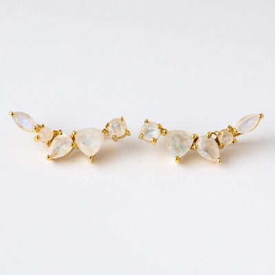 Lightweight Moonstone Earring Ear Climbers 14K Gold Plated
