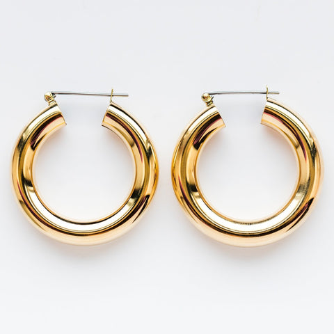 Round Hoop Earrings - earrings - Laura Lombardi local eclectic