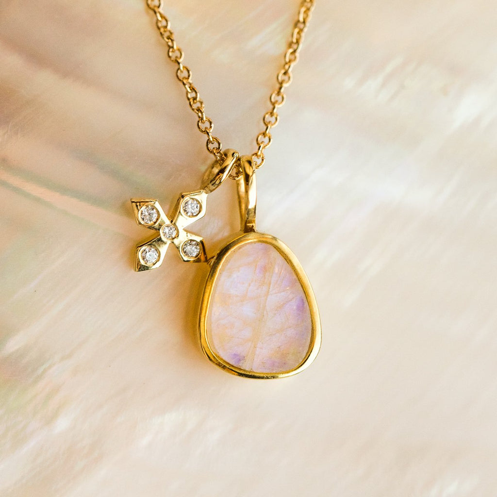 Paz Necklace with Moonstone - necklaces - Leah Alexandra local eclectic