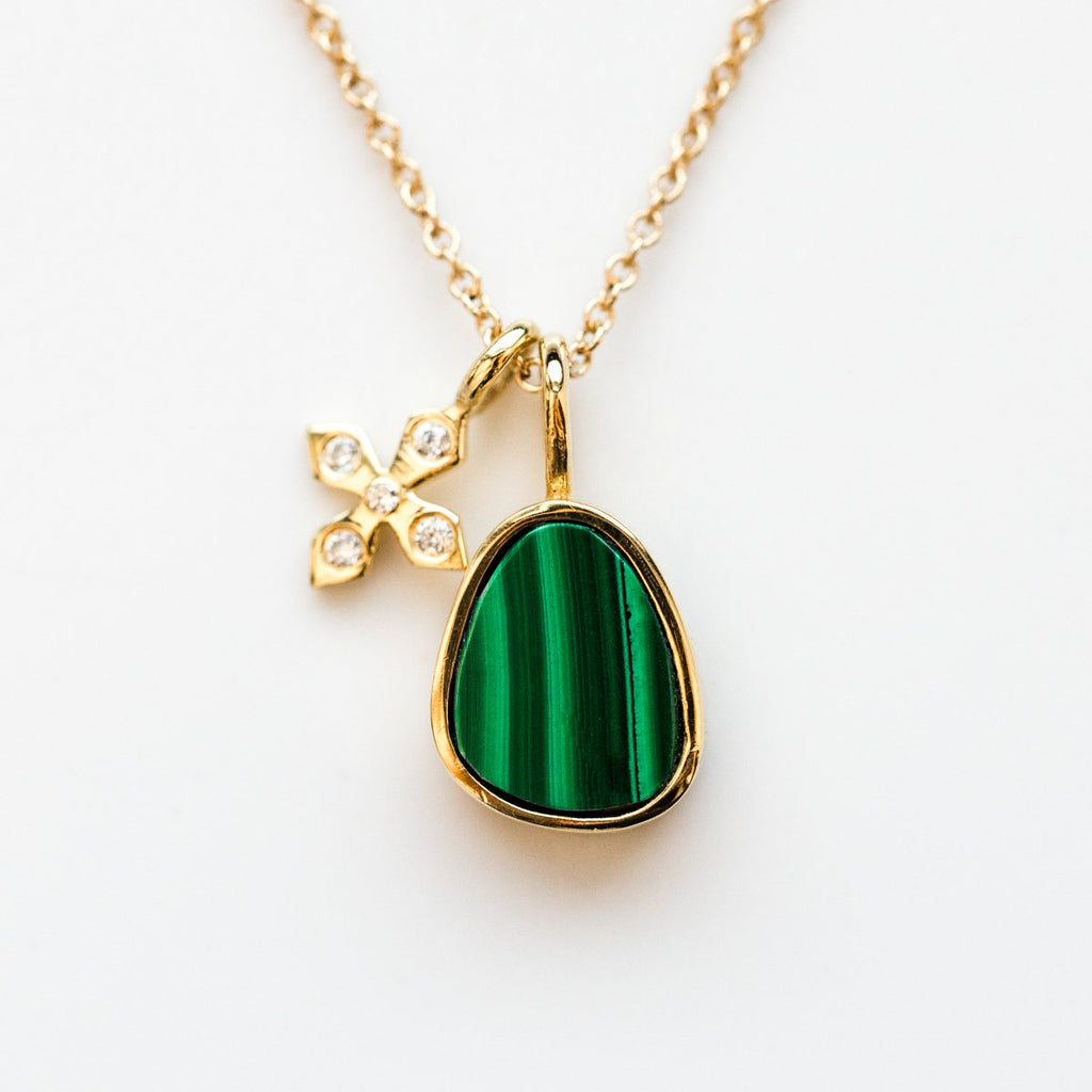 Paz Necklace with Malachite - necklaces - Leah Alexandra local eclectic