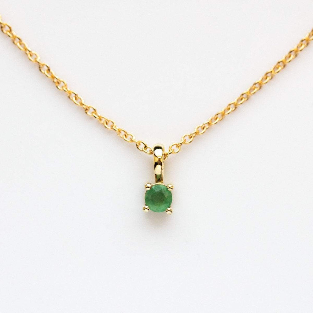 Emerald birthstone necklace, may birthstone necklace, Leah Alexandra