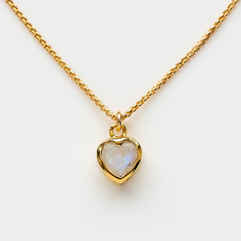 Heart Shaped Moonstone Bezel Set Yellow Gold Necklace Pendant Leah Alexandra