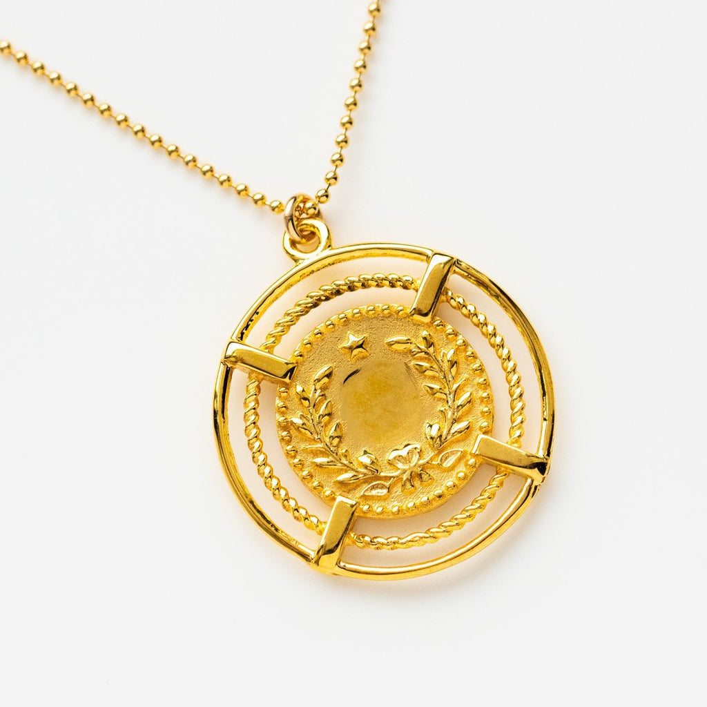 Nautical Inspired Pendant Necklace Yellow Gold Leah Alexandra