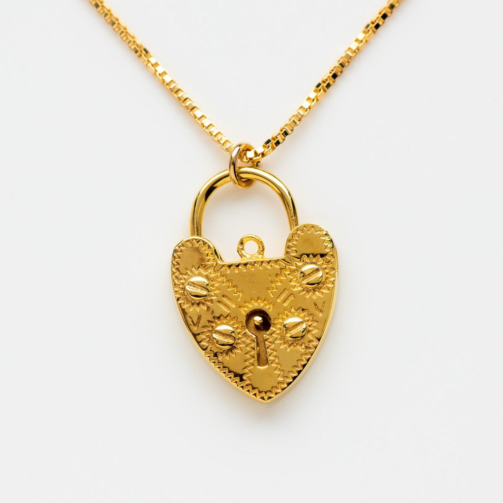 Lovelock Necklace Pendant Heart Shaped Lock Yellow Gold Leah Alexandra