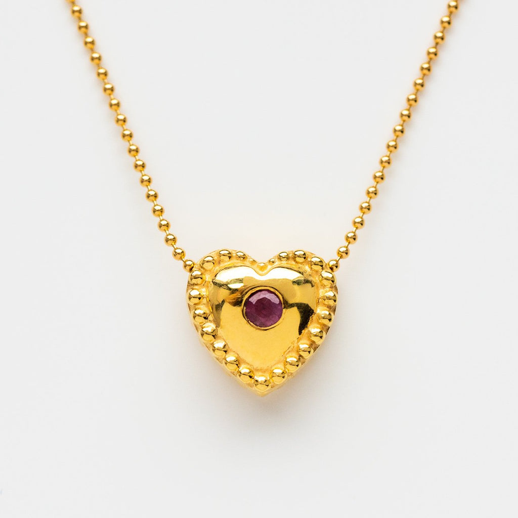 Embellished Heart Pendant Necklace CZ Pink Sapphire Leah Alexandra