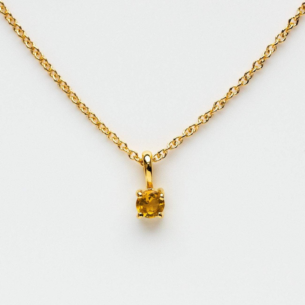 citrine birthstone necklace leah alexandra yellow gold
