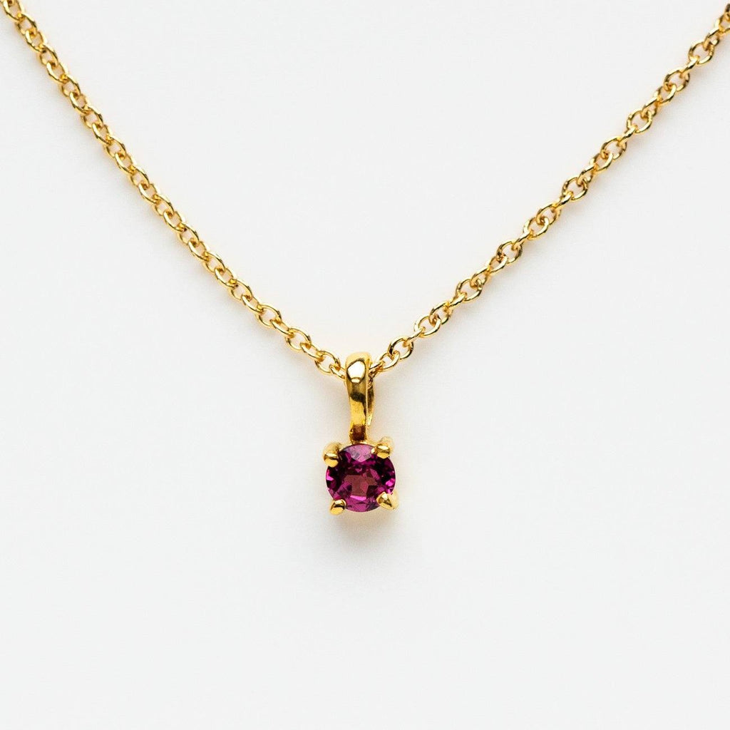garnet birthstone yellow gold necklace pendant leah alexandra