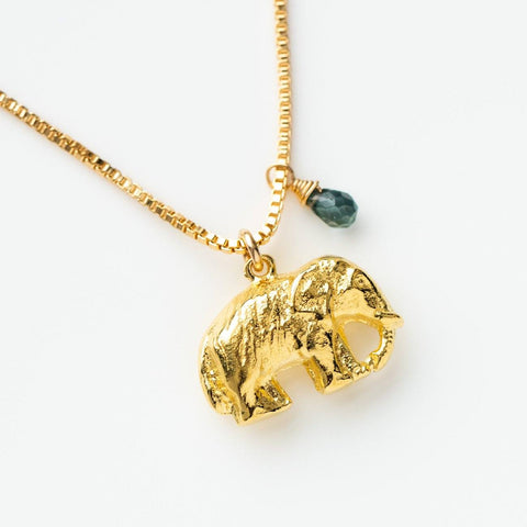 yellow gold elephant necklace charm unique yellow gold jewelry