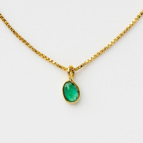 sofia slice necklace with emerald pendant