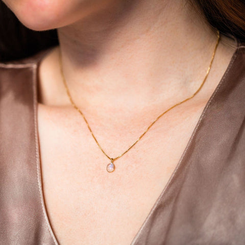 sofia slice necklace with moonstone pendant