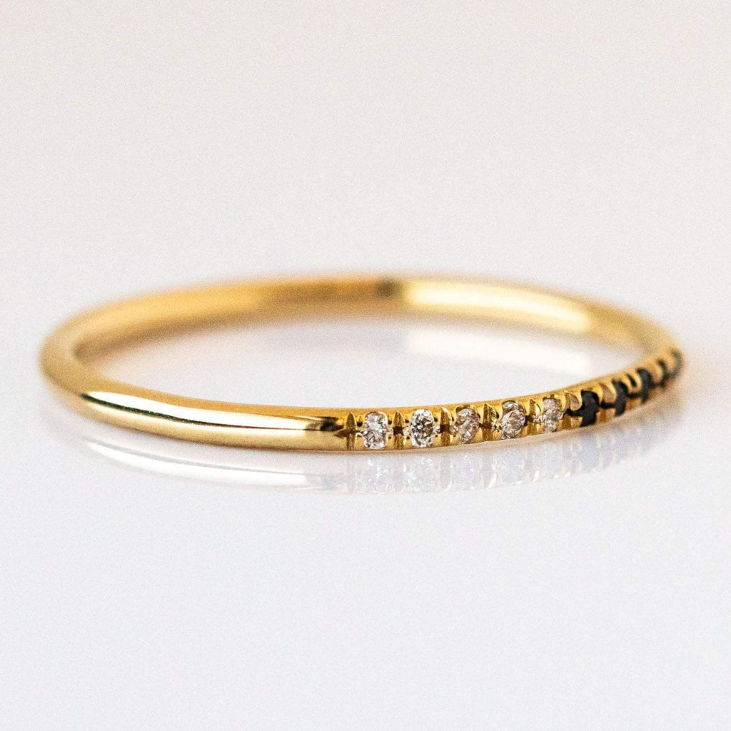 Local Eclectic - 14K Half Black Half White Diamond Band - Solid Gold - Liesel Love