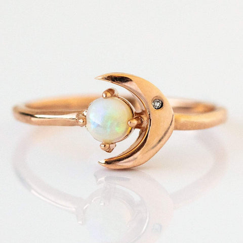14K Opal Star & Moon Ring