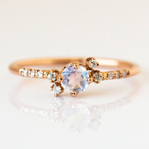 Local Eclectic - Diamond Moonstone Cluster Ring - 14K Solid Rose Gold - Fine Jewelry