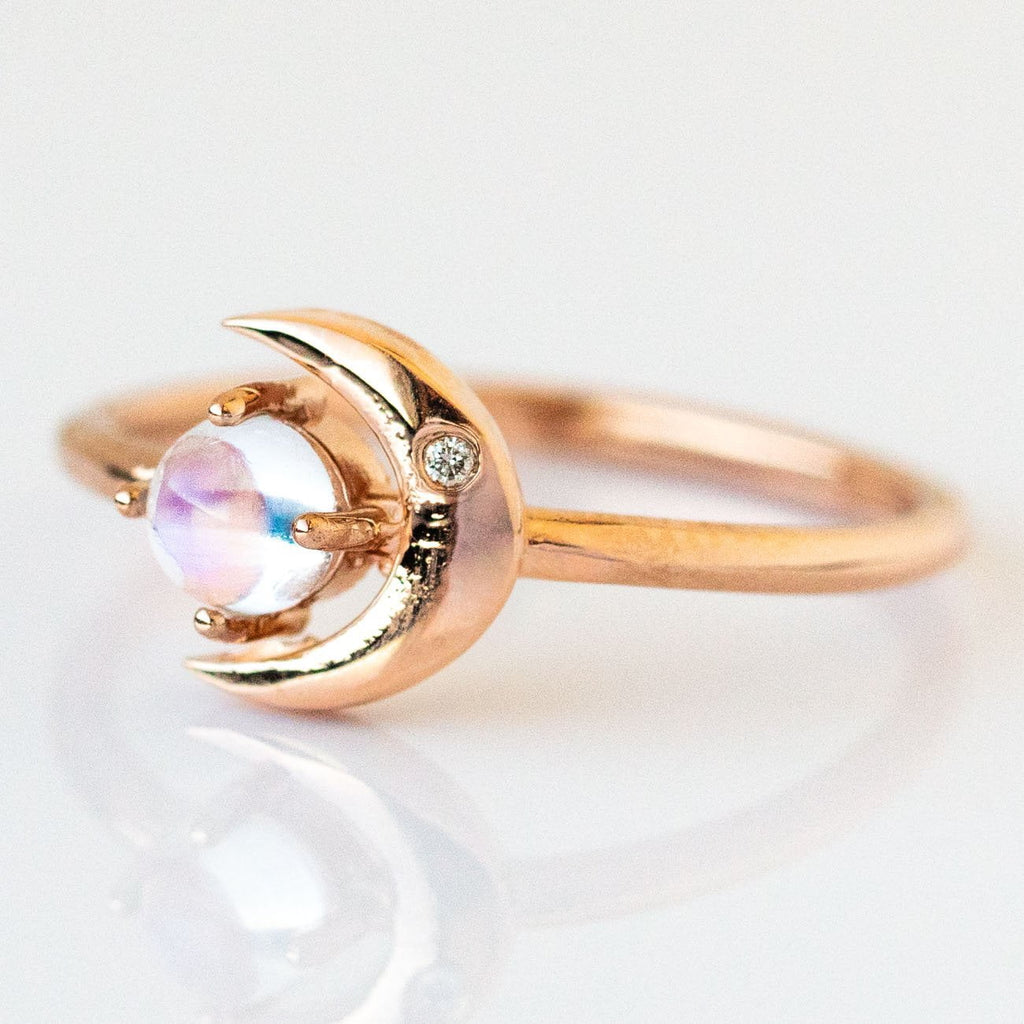 14K Moonstone Star & Moon Ring