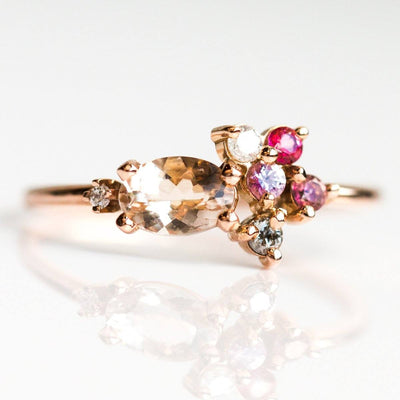 14K Pretty in Pink Cluster Ring - rings - Liesel Love local eclectic