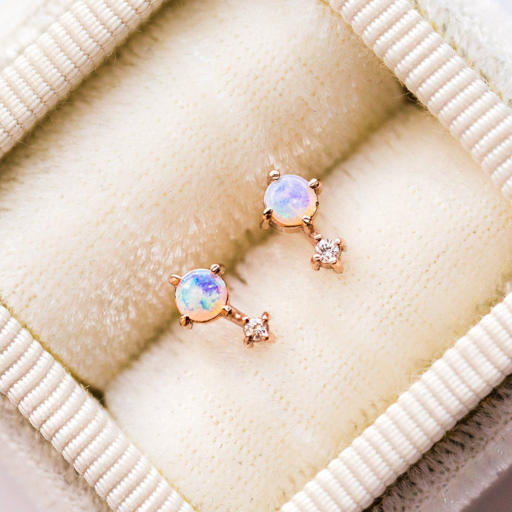14K Opal Love Drop Stud Earrings - earrings - Liesel Love local eclectic