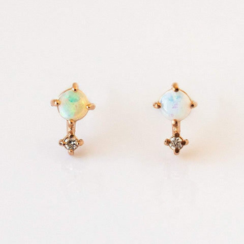 14K Opal Love Drop Stud Earrings