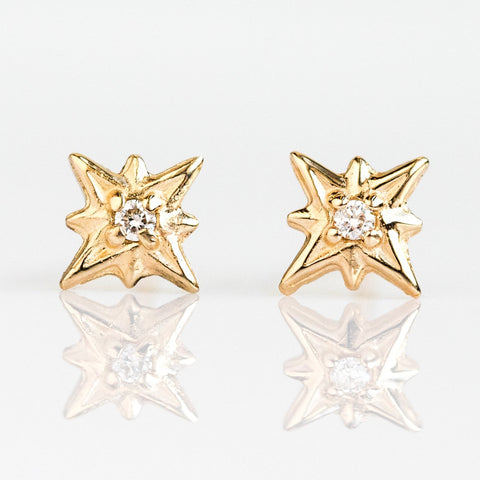 14K Diamond North Star Stud Earrings - earrings - Liesel Love local eclectic