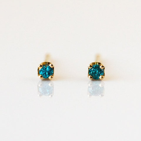 14K Tiny Blue Diamond Stud Earrings