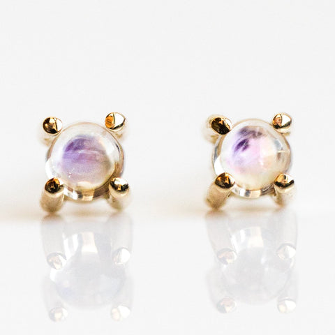 Moonstone Studs - earrings - Liesel Love local eclectic