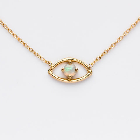 14K Opal Evil Eye Necklace - necklaces - Liesel Love local eclectic