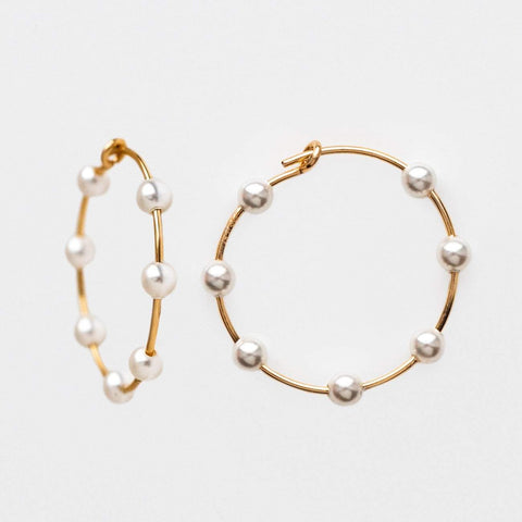 Baby Pearl Petite Yellow Gold Hoop Minimal Jewelry Lili Claspe