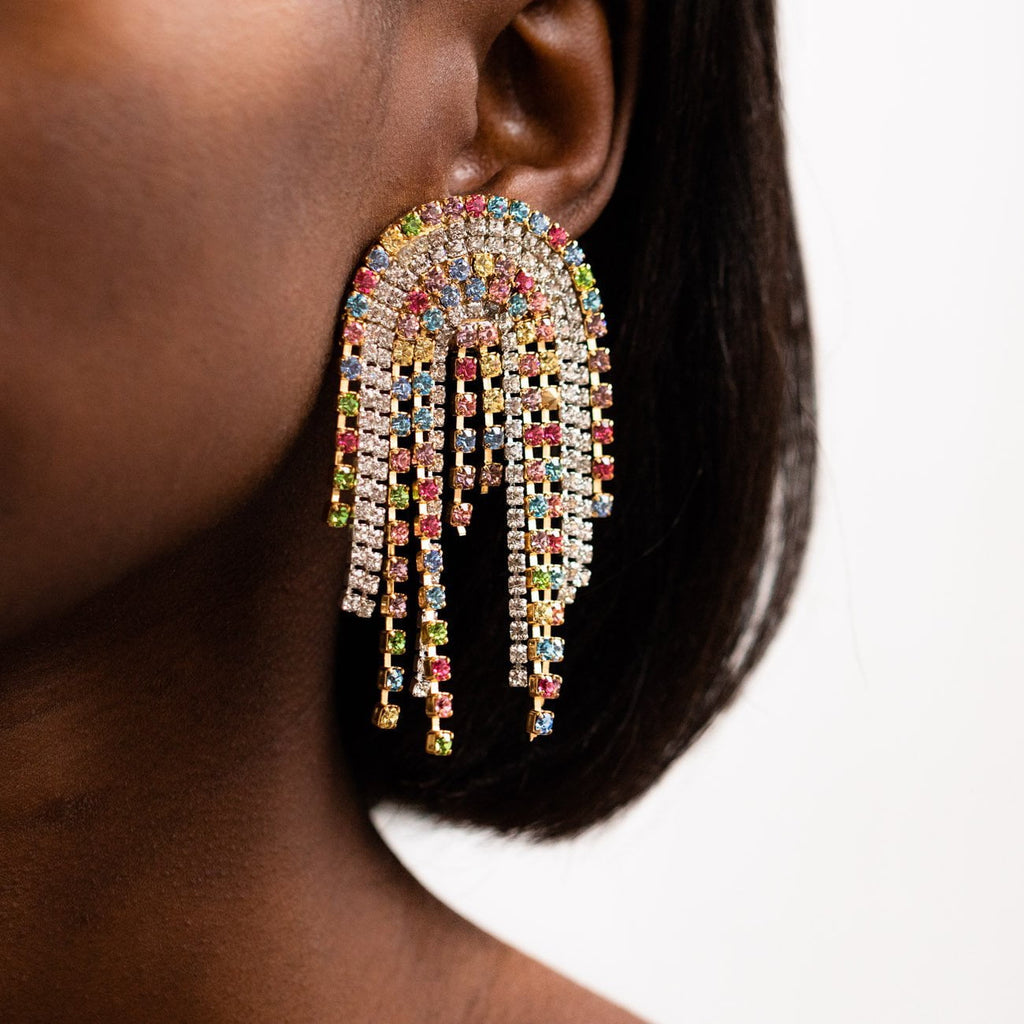 Large Statement Multi Color Fringe Clip On Earrings Lili Claspe