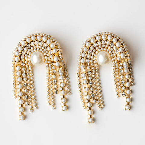 White Pearl Drop Statement Clip On Earrings Lili Claspe