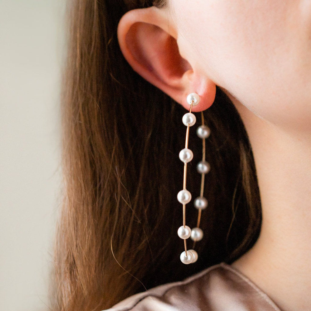 grande molly hoop earrings unique large statement pearl hoops