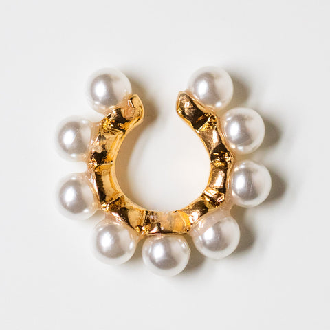 poppy pearl ear cuff unique yellow gold modern statement jewelry