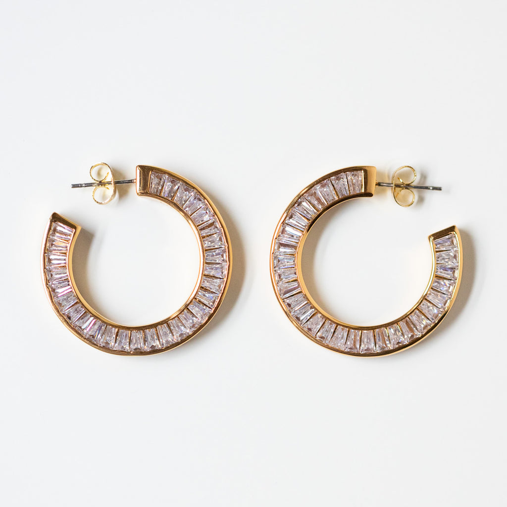 baguette cz small hoop earrings unique yellow gold hoops