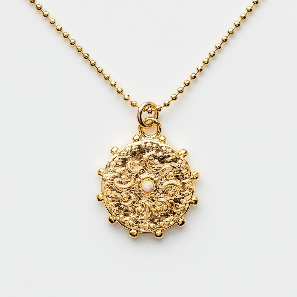 Yellow Gold Medallion Coin Pendant Necklace White Australian Opal Lili Claspe