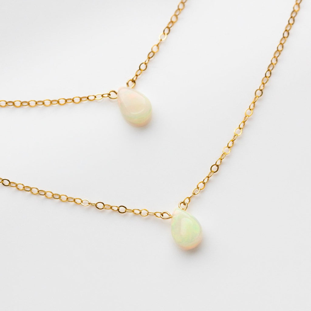 Yellow Gold Double Teardrop Shaped Ethiopian Opals Classic Modern Necklace Lili Claspe