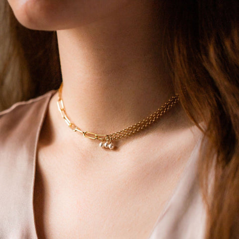 pearl asymmetrical unique yellow gold choker necklace