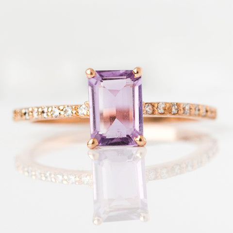 Rose Gold Lilac Quartz & Topaz Baguette Ring - rings - La Kaiser local eclectic