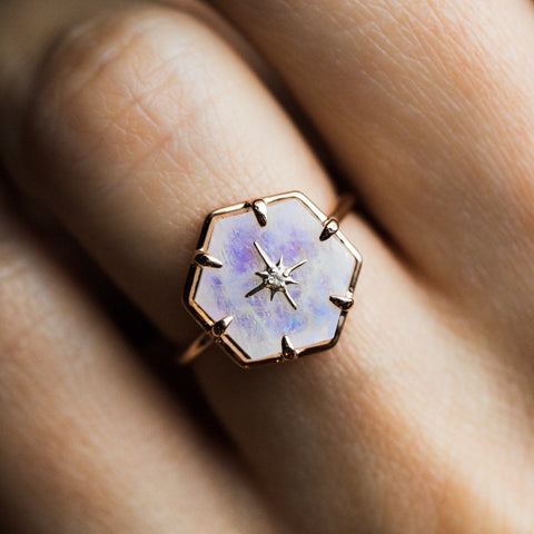 Rose Gold Star Studded Rainbow Moonstone Ring - rings - La Kaiser local eclectic