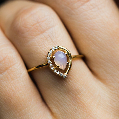Lilac Quartz & Topaz Dew Drop Ring - rings - La Kaiser local eclectic