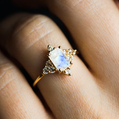 Rainbow Moonstone & Topaz North Star Ring - rings - La Kaiser local eclectic