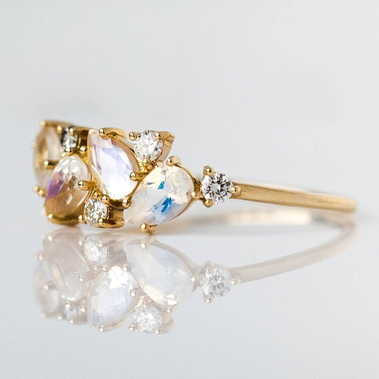 14KT Gold Rainbow Moonstone & Diamond Woodland Fairytale Ring - rings - La Kaiser local eclectic