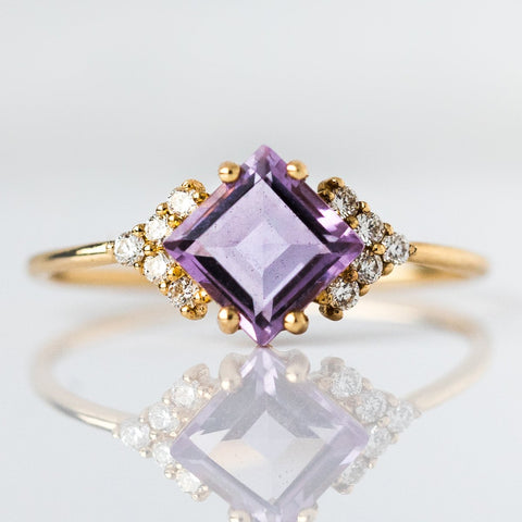 14KT Gold Diamond & Lilac Quartz Aphrodite Shield Ring - rings - La Kaiser local eclectic