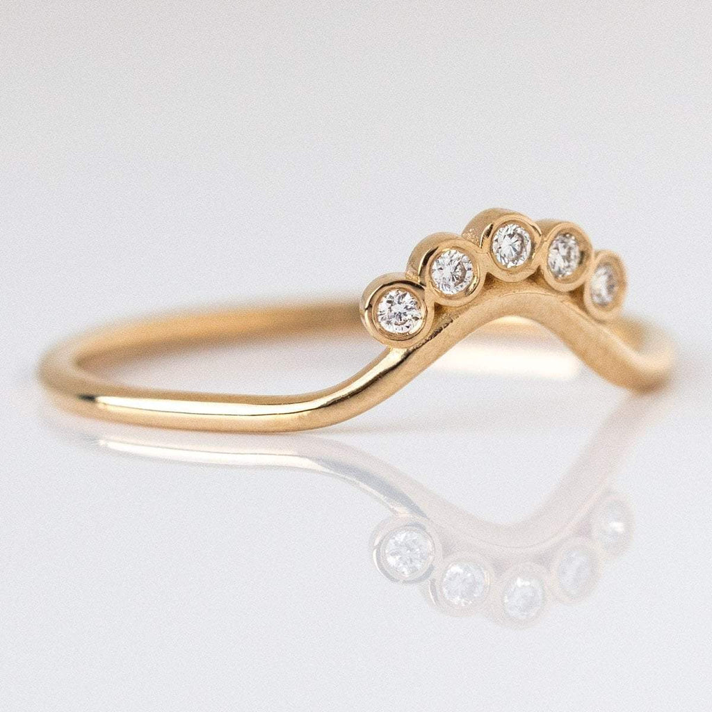 Local Eclectic - 14K Gold Diamond Sunrise Ring - Natural Diamonds - Wedding Band - La Kaiser
