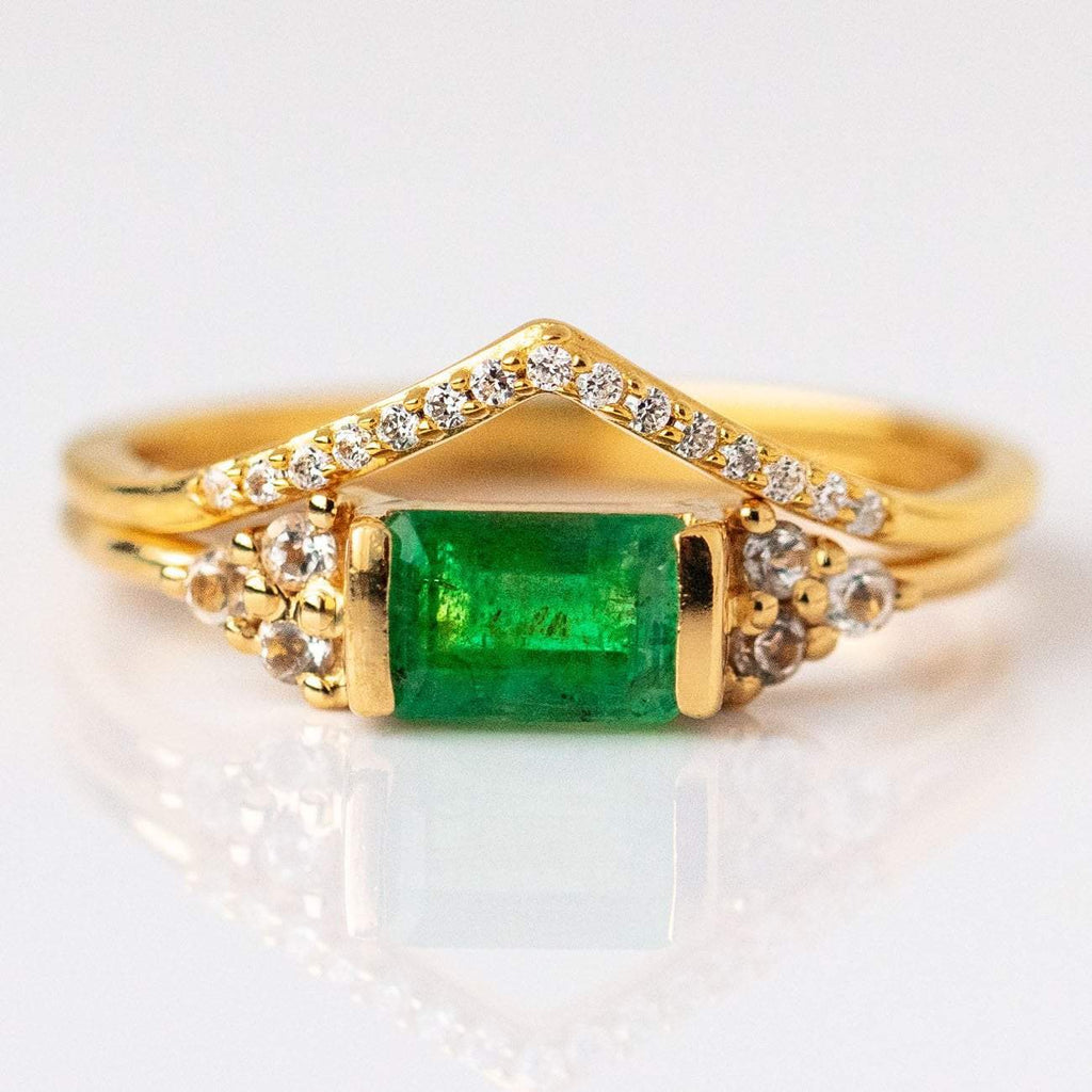 Emerald Gold Stacking Ring Set
