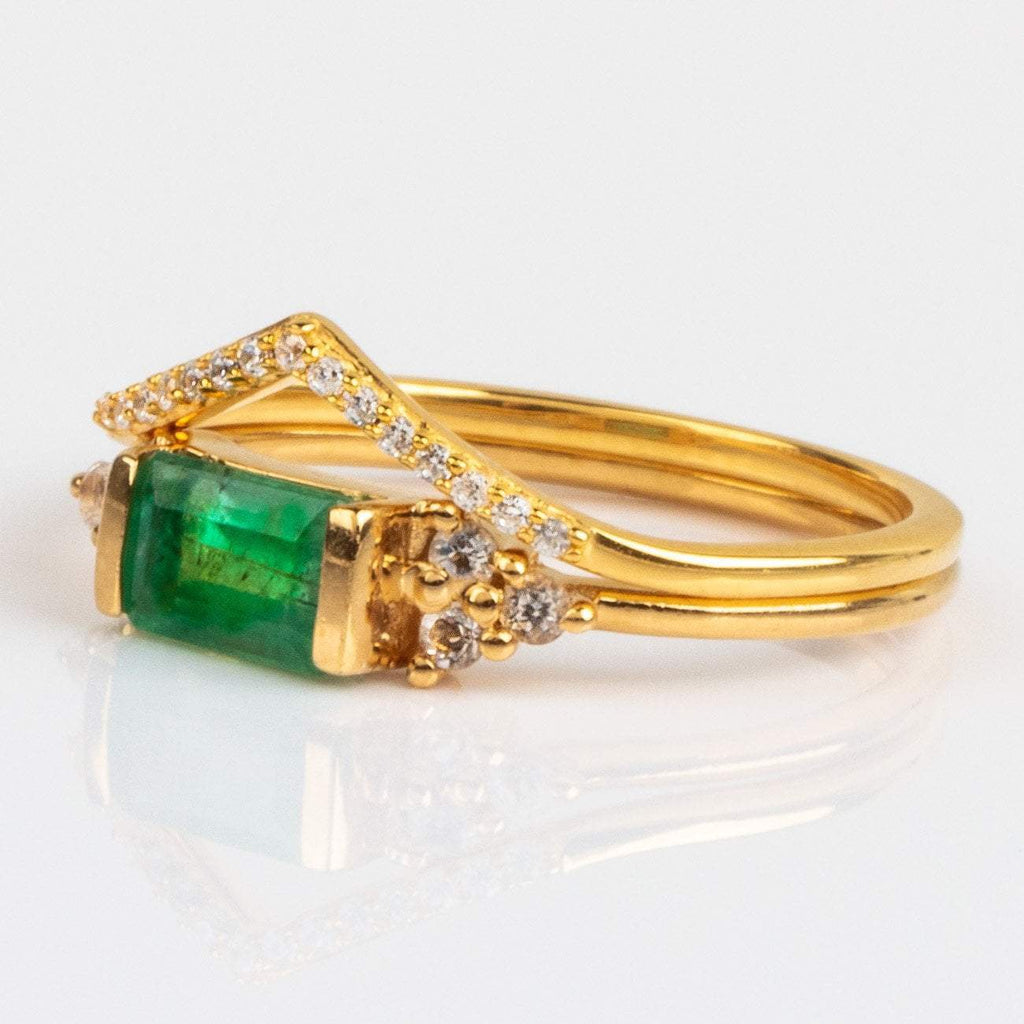 Emerald White Topaz Gold Stacking Ring Stacking Set